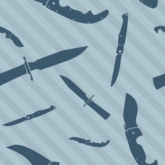 Knife and blade seamless vector background