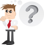 Businessman thinking with question mark thought bubble