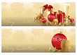 Golden red christmas banners, vector illustration
