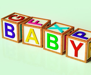 Kids Blocks Spelling Baby As Symbol for Babies And Childhood