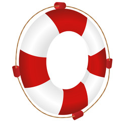 red ring-buoy with rope