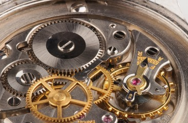 Closeup of a fine Swiss precision clockwork