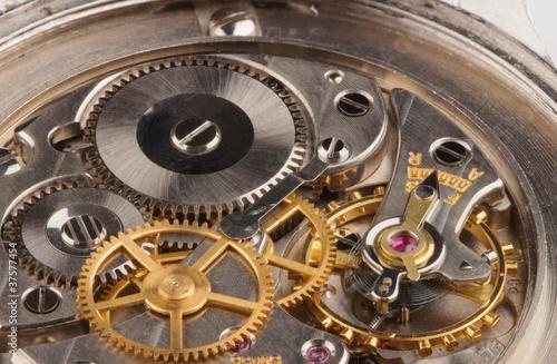 canvas print picture Closeup of a fine Swiss precision clockwork