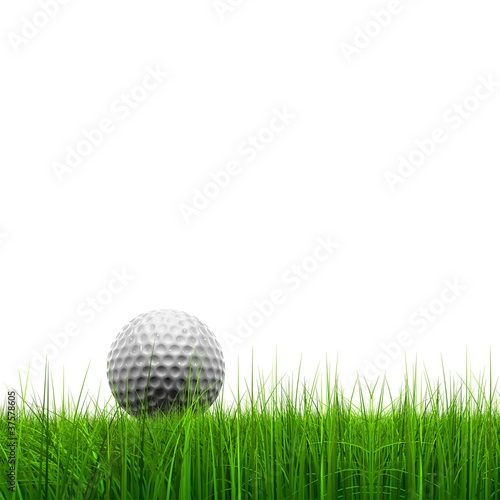High resolution golf ball in grass