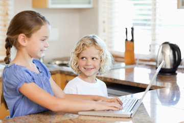 Siblings on the notebook in the kitchen