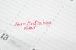 Zeu-Meditation Kurs Termin im Kalender notiert