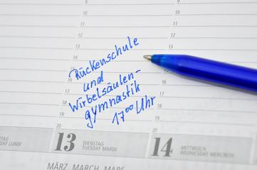 Rückenschule Termin im Kalender notiert