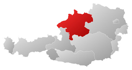 Map of Austria, Upper Austria highlighted