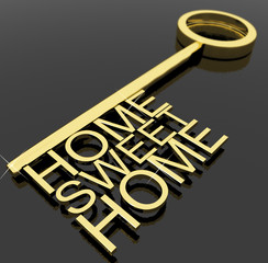 Key With Sweet Home Text As Symbol For Property And Security