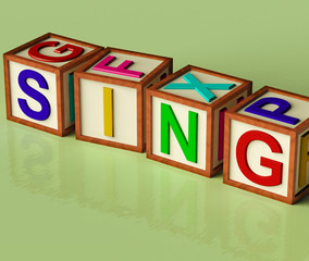 Kids Blocks Spelling Sing As Symbol for Singing And Music