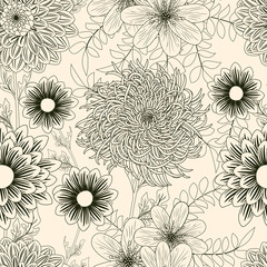 Seamless background with garden flowers