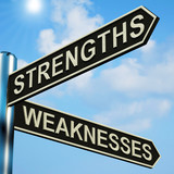 Strengths Or Weaknesses Directions On A Signpost