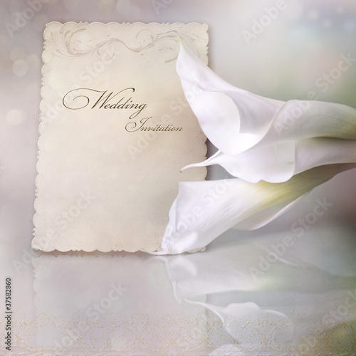 Wedding invitation card with calla lilies