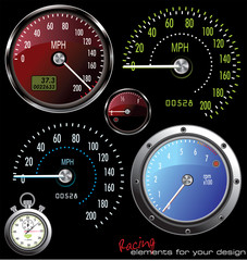 Set of vector Speedometer and Counter in miles and kilometers