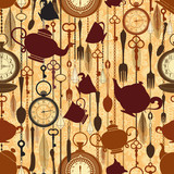 Vintage seamless tea time pattern