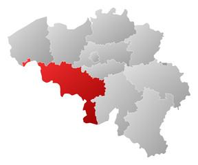 Map of Belgium, Hainaut highlighted