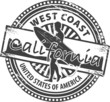 Stamp with name of California, vector illustration