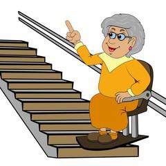 Großmutter auf dem Treppenlift