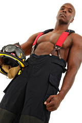Attractive Thirty Black Man Firefighter in Uniform over White