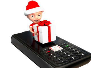 character from the phone brings gift isolated on white