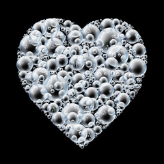 bubble heart on black