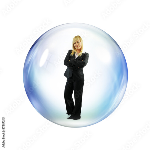 businesswoman inside bubble