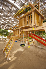 Climbing frame in a childrens play area