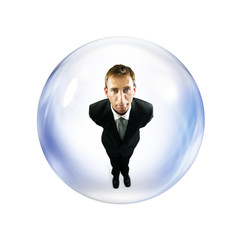 man inside bubble
