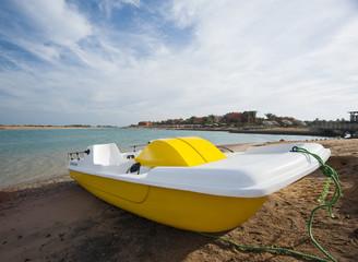 Pedalo boat on a beach