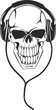 skull in stereo ear-phones