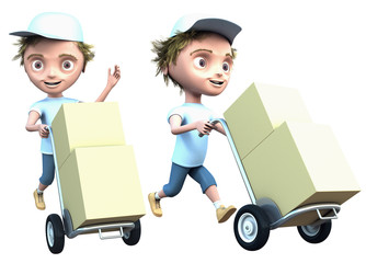 courier delivers a parcel isolated on white