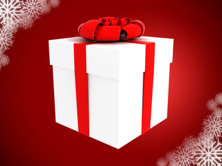 present on red background with snowflakes