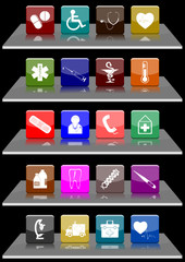 Set 20 medical symbols icons (vector)