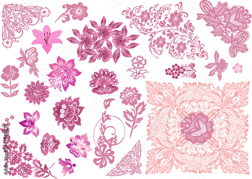 pink decorated floral elements collection