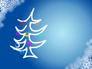 Christmas Tree on blue background with snowflakes