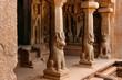 Säulen eines Felsentempels, Mahabalipuram, Südindien