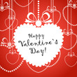 Happy Valentine day greeting card with white heart
