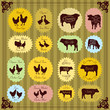 Farm birds egg and meat labels illustration collection