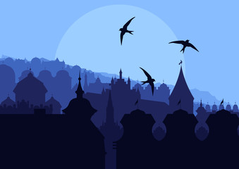 Europe city vector background with many cathedrals and churches