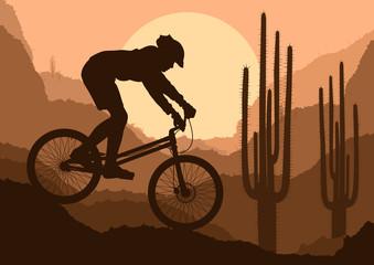 Motorbike rider in wild nature landscape background illustration