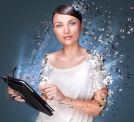 Poster photo of young pretty woman using her tablet computer and