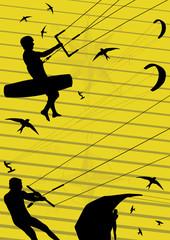 Kite boarding people silhouettes illustration