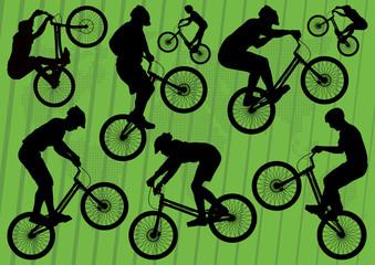 Mountain bike trial riders silhouettes illustration