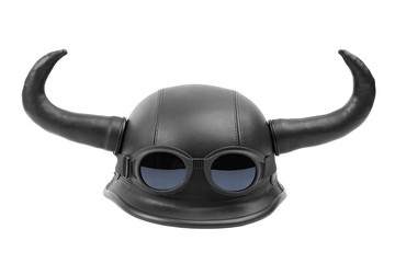 Humorous motorcycle helmet with horns