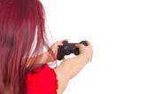 Frau spielt Videogame poster