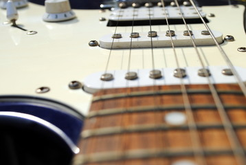 close up of an old style electric guitar
