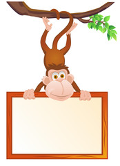 Monkey cartoon and blank sign