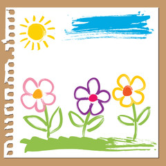 Childlike painting - flowers