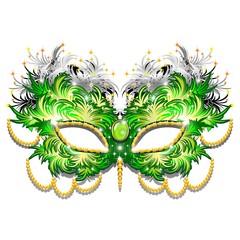 Maschera Carnevale Verde Smeraldo Piumr-Green Carnival Mask