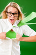 Green Superhero Businesswoman crazy face